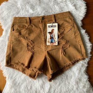 Rewash Shorts Size 10 Gold/Brown Rise 12.5